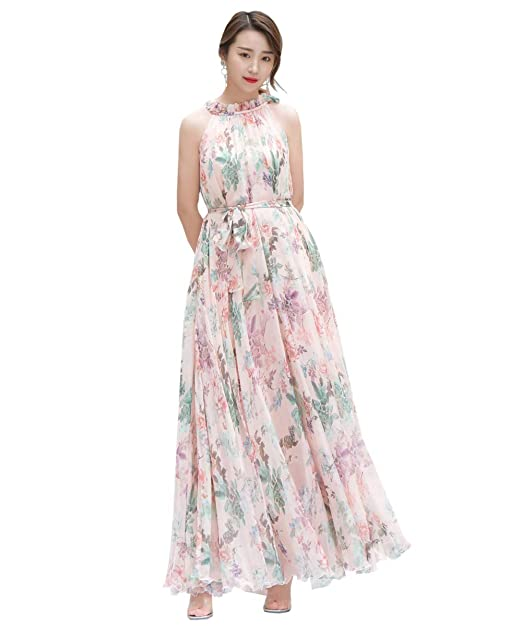 f8d29233038 Medeshe Women s Summer Floral Long Beach Maxi Dress Lightweight Sundress  (Small