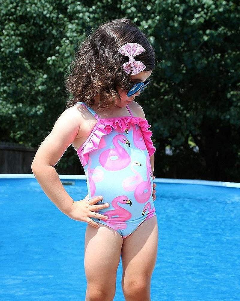 MSemis Baby Girls One Piece Swimsuit Kids Child Sleeveless Striped Swimming Costumes Swimwear