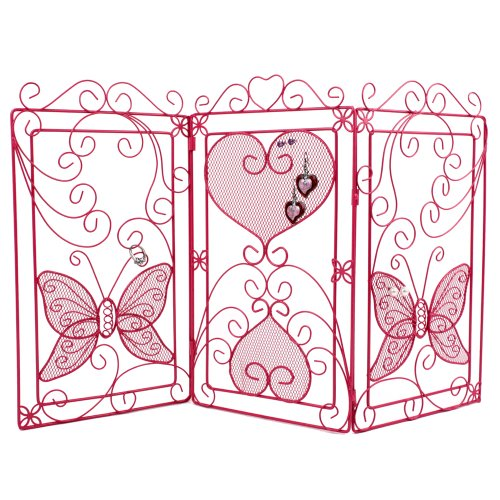 EXTRA LARGE STORAGE Cute Butterfly Holder Jewelry Bracelet Earring Necklace Ring Organizer (Pink)