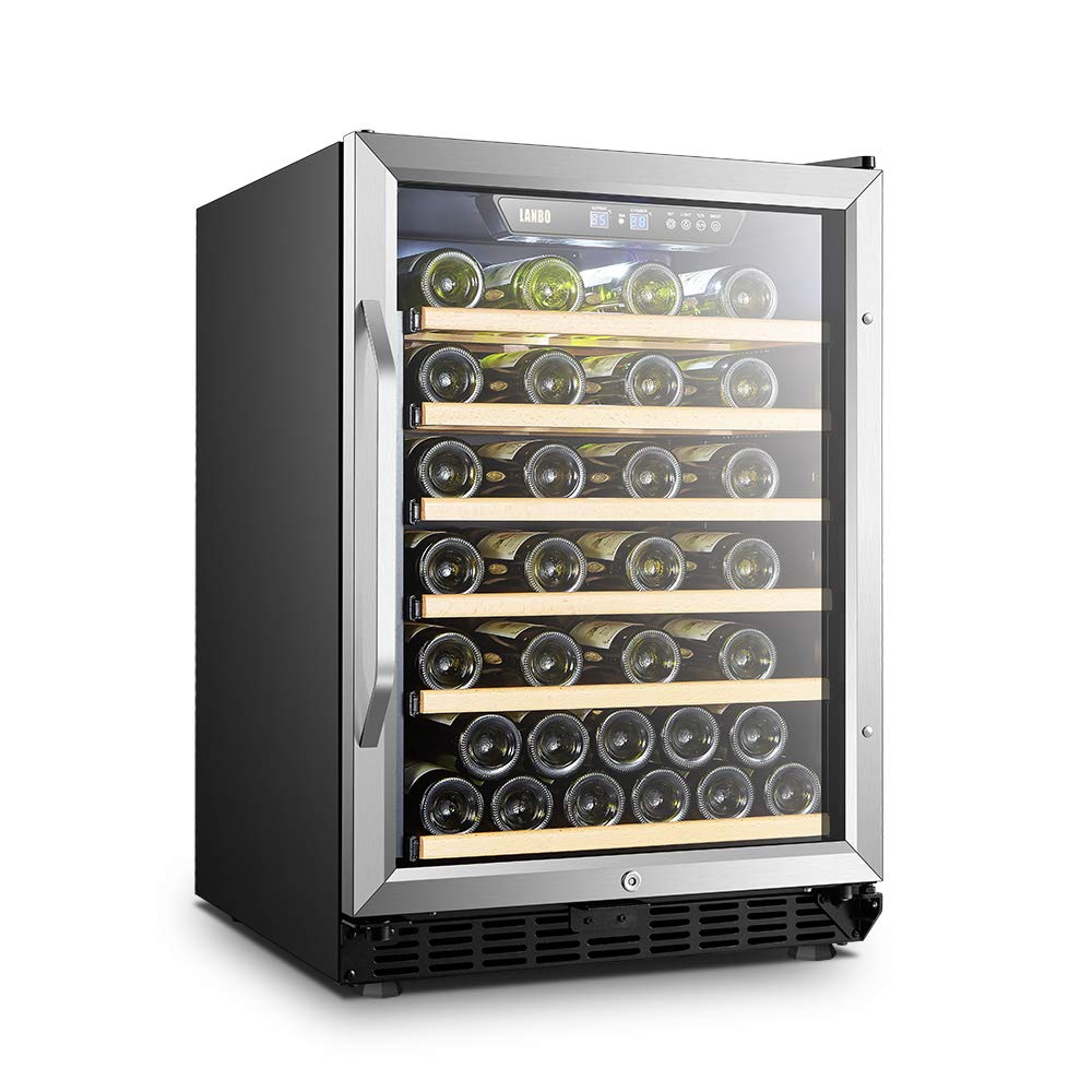 LANBO Red Wine Cellar, 52 Bottles Built-in or Freestanding Wine Cooler Fridge with Safety Lock and Wood Shelves
