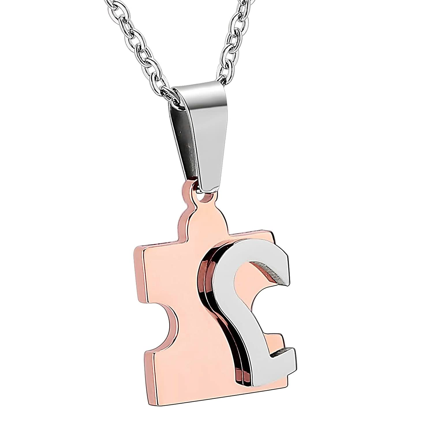 AMDXD Jewelry Stainless Steel Pendant Necklace for Men Women Puzzle Heart 2X1.5CM