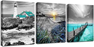 Ardemy Canvas Wall Art Ocean Seascape Blue Painting Prints Modern Lighthouse Teal Coastal Sunset Bridge Grey Turquoise Landscape Pictures Framed for Bedroom Bathroom Living Room Home Office Decor