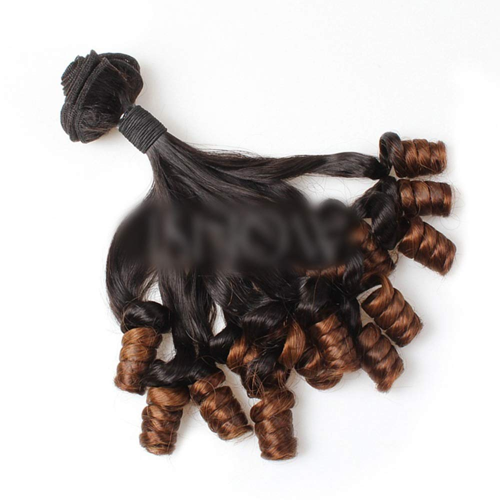 YESONEEP ブラジルFunmi人毛ショートカーリールーズウェーブヘアバンドル用ロールプレイングかつら女性のかつら (色 : ブラウン, サイズ : 16 inch) B07T4P331P ブラウン 16 inch