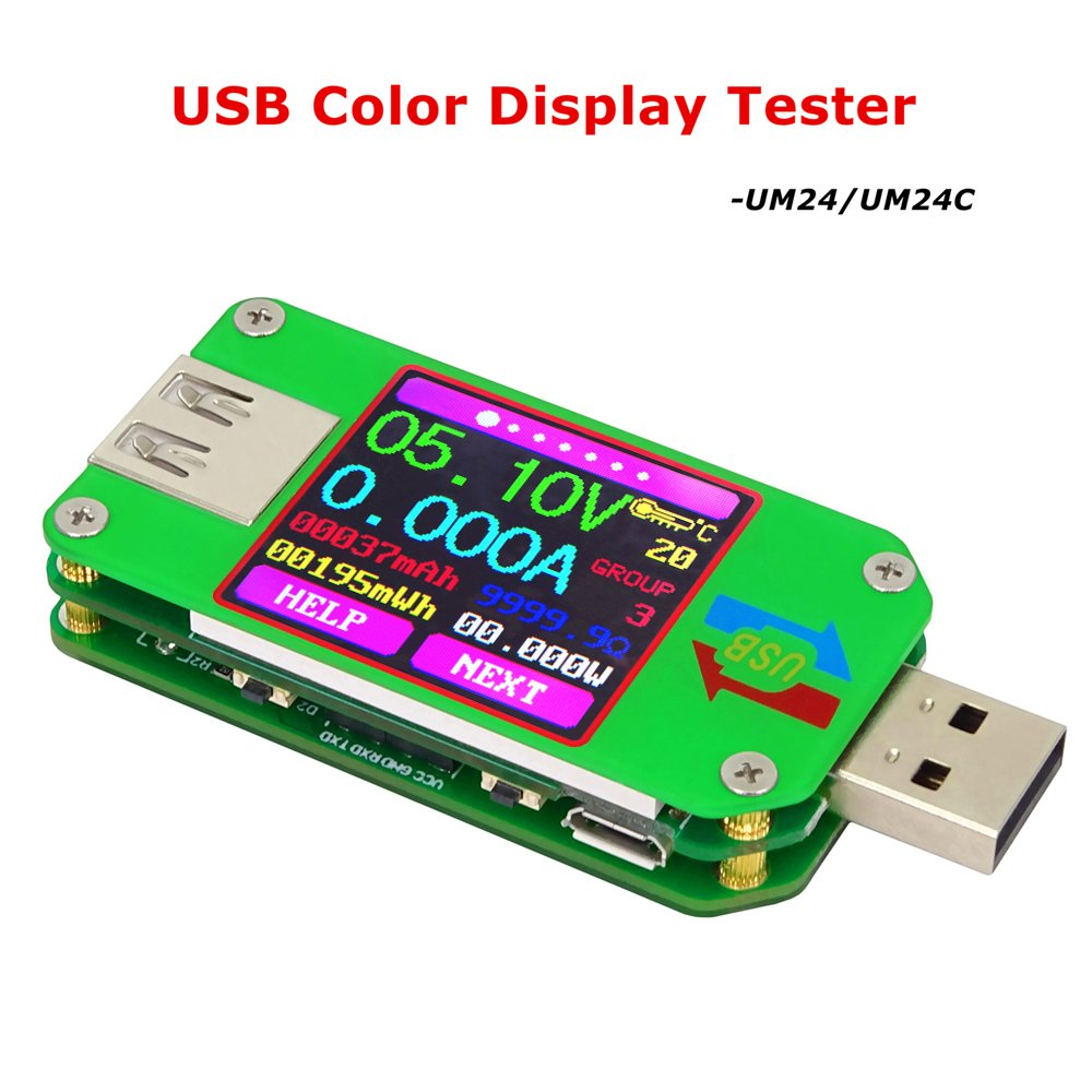 Crazepony UM24C USB 2.0 Power Meter Tester USB Multimeter Color LCD Display Voltage Current Meter Voltmeter Amperimetro Battery Charge Measure Cable Resistance with Bluetooth