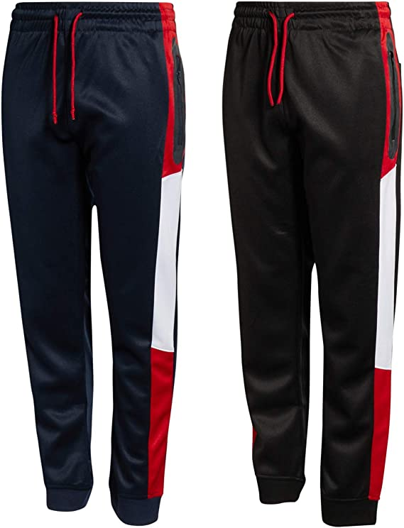 Quad Seven Little Boys 2-Piece Athletic Tricot Jogger Set Black//Red Legend Size 5//6