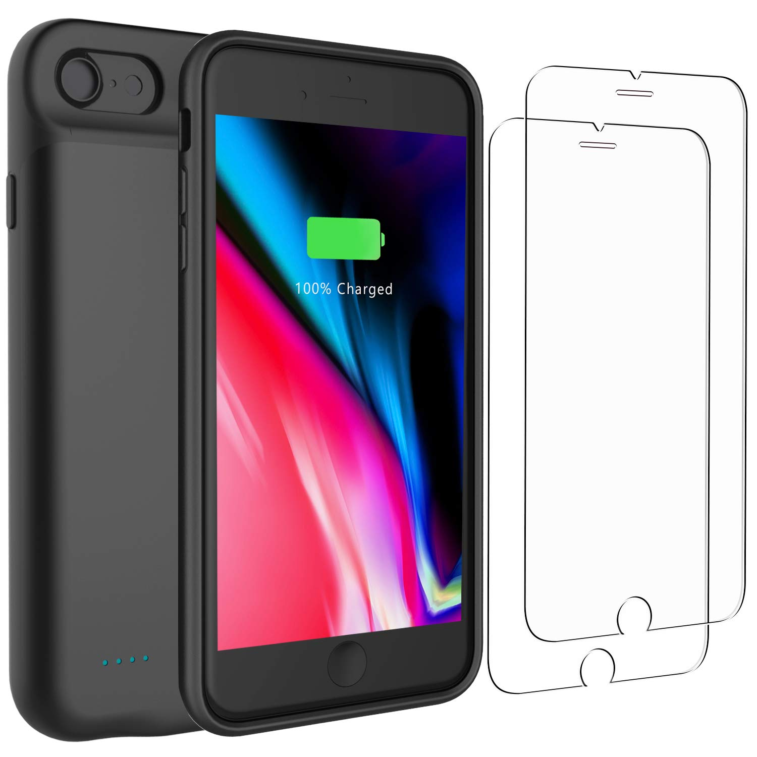 the latest 25fe4 4952c PEYOU Compatible for iPhone 8/7 Battery Case + 2 Pack Tempered Glass Screen  Protector,3000mAh [Fit for Lightning Headphones] Slim Extended Backup ...