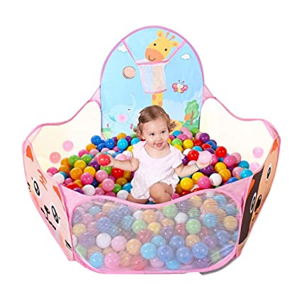 los angeles 28872 4caf0 LOJETON Kids Ball Pit Pop Up Children Play Tent, Toddler Ball Animal Pool  Baby Crawl Playpen with Basketball Hoop and Zipper Storage Bag - Balls Not  ...