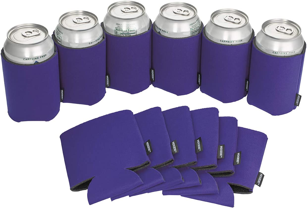 Koozie Can Cooler Blank Beer Koozie for Cans, Water Bottles, Bulk DIY Insulated Beverage Holder Personalized Gifts for Events, Bachelorette Parties, Weddings, Birthdays- Pack of 12 Sleeves (Purple)