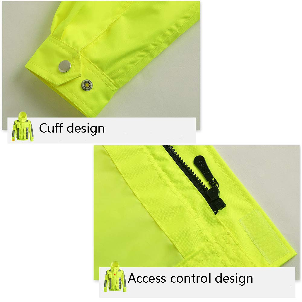 Color : Green, Size : M Jian E Traffic Duty Service Reflective Clothing Jacket Fluorescent Yellow Outdoor Waterproof Clothing //-// /& Reflective Raincoat-high Speed Road Traffic Service Overalls
