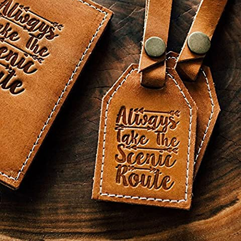 Always Take The Scenic Route // Leather Luggage Tag - En Route Luggage Tag