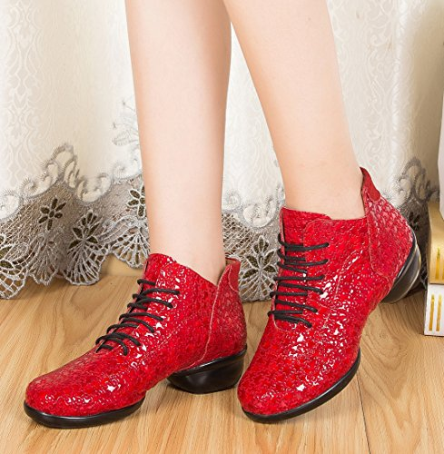 Square TDA Classic up Red Ballroom Women's Round Dancing Latin Lace Leather Toe Shoes Moderm FTwqzxB