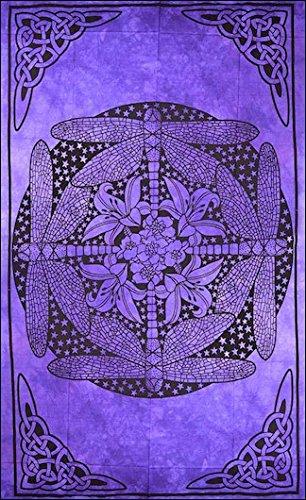 4Rissa Celtic Dragonfly Purple Batik Tapestry Hippie Wall Hanging Bedspread