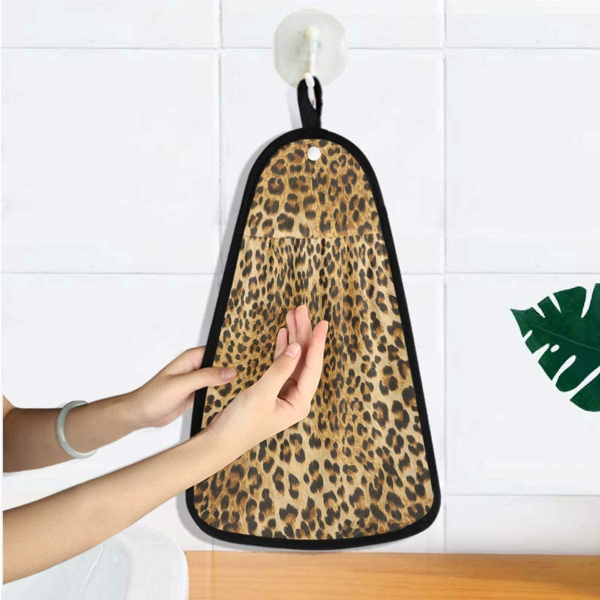 panno per la pulizia della cucina e del bagno Rulyy Asciugamano da appendere con motivo leopardato con stampa leopardata morbido assorbente asciugatura rapida