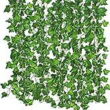 25.6m Fake Ivy vegetación de vides de plantas colgantes guirnalda de flores artificiales de seda para boda decoraciones de fiesta DIY piso jardín oficina/Pack de 12