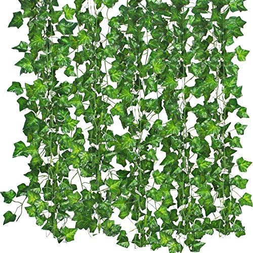 (Bird Fiy 84 Ft Fake Ivy Silk Vines Hanging Plants Artificial Flowers Garland Greenery for Wedding Party Decorations DIY Floor Garden Office/Pack of 12)