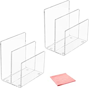 Combination of Life 2 Sections Acrylic Mini File Sorter Desktop Organizer Clear 6 inches W by 4.1 inches D by 6.5 inches H Set of 2