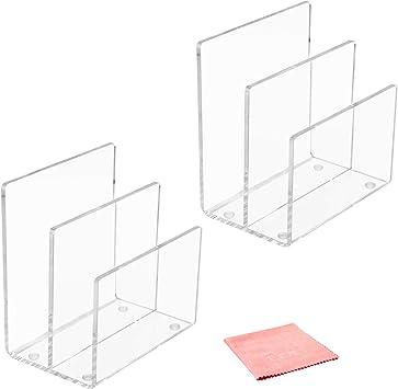 2 Stanley Acrylic Desktop File Sorter Letter Sorter 3-Section 3x7x5 inch in All Clear Storage Paper Document Documentation Holder Desk Organizer