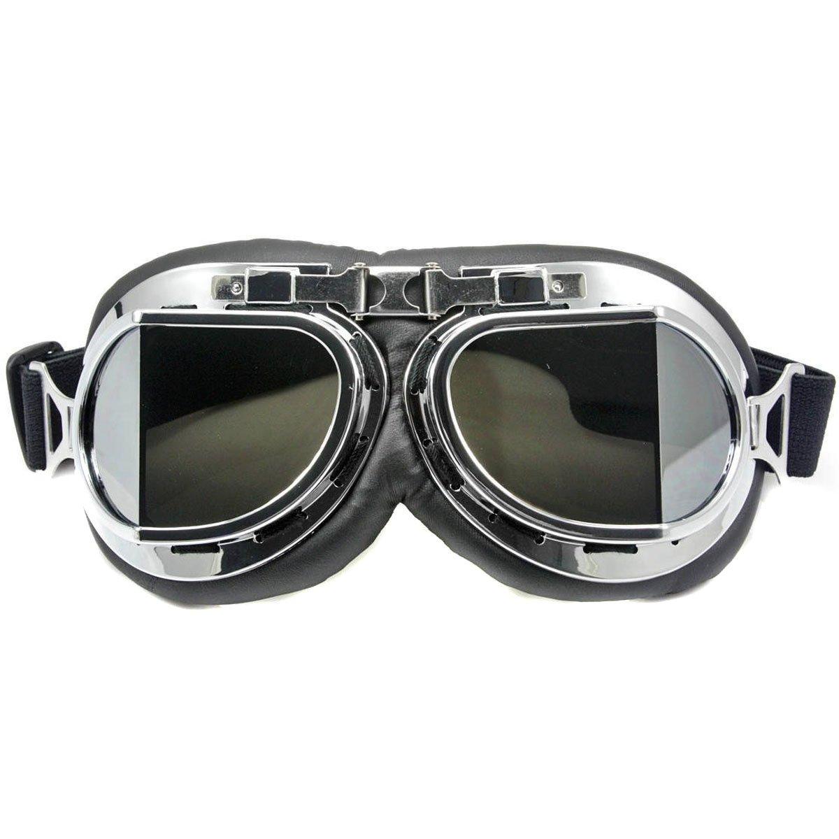 Nsstar - Occhiali da pilota della RAF per moto, scooter, motocross, protezione solare anti UV e anti vento, telaio cromato, Yellow, Misura unica
