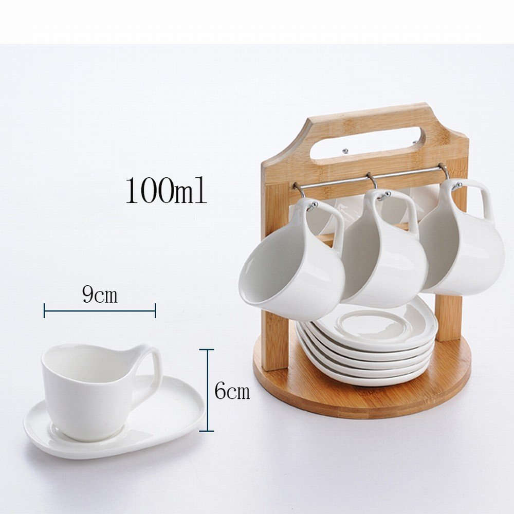 DHG European Ceramic Coffee Cup Set 6 Cup Korean Simple Home White Porcelain Cup Holder Coaster Afternoon Tea Cup Saucer,A