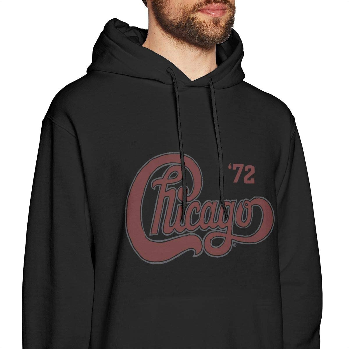 Wujing Mens Chicago Tour Long Sleeve Hooded Sweat Shirt Pullover