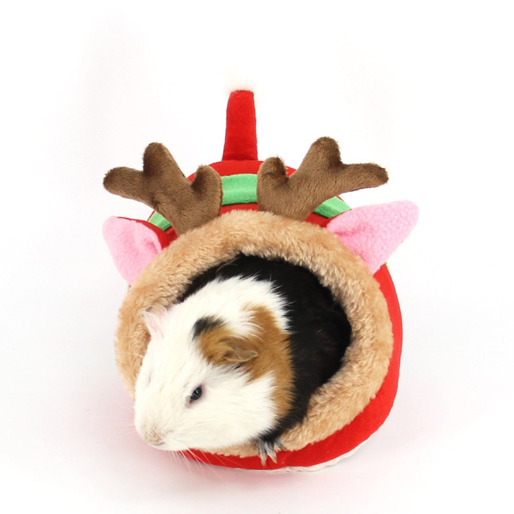 Red deer S  7\ Red deer S  7\ Small Animals Hamster Sleep Bed Cave Plush Warm House Sofa Cage Accessories for Hedgehog Dwarf Mouse Rabbit Totgold Guinea Pigs Squirrels (S  7  L x 6.6  W x 5.2  H, Red Deer)