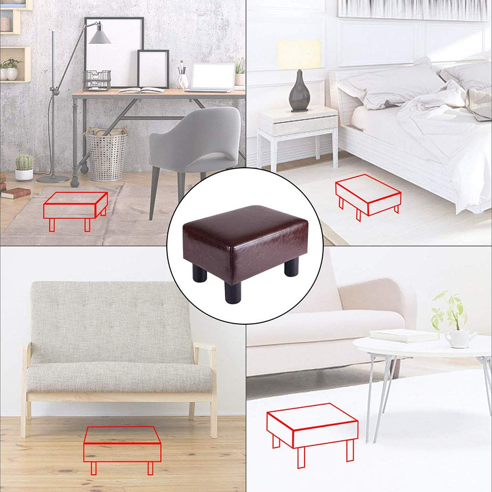 Black Touch-Rich Footrest Small Ottoman Stool PU Leather Modern Seat Chair Footstool