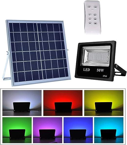 Foco Solar LED Cambios de Color, Lámpara Solar Jardín con Mando a Distancia, 6000LM 50W 108LED Multicolor Proyector RGB, IP66 Impermeable Iluminación Decorativa para Terraza Jardín Patio: Amazon.es: Iluminación