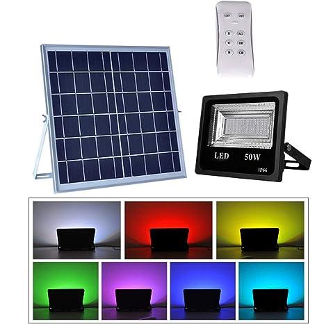 Foco Solar LED Cambios de Color, Lámpara Solar Jardín con Mando a ...