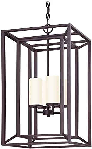 Chain Hanging Rectangle Caged Chandelier in Bronze Finish