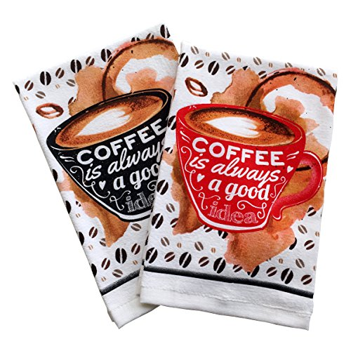 GREVY Printed Terry Velvet Kitchen Towel with Coffee Mug Des