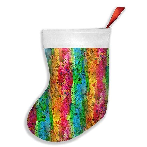 Amazon Com Abstract Watercolor Rainbow Christmas Stocking Xmas Tree