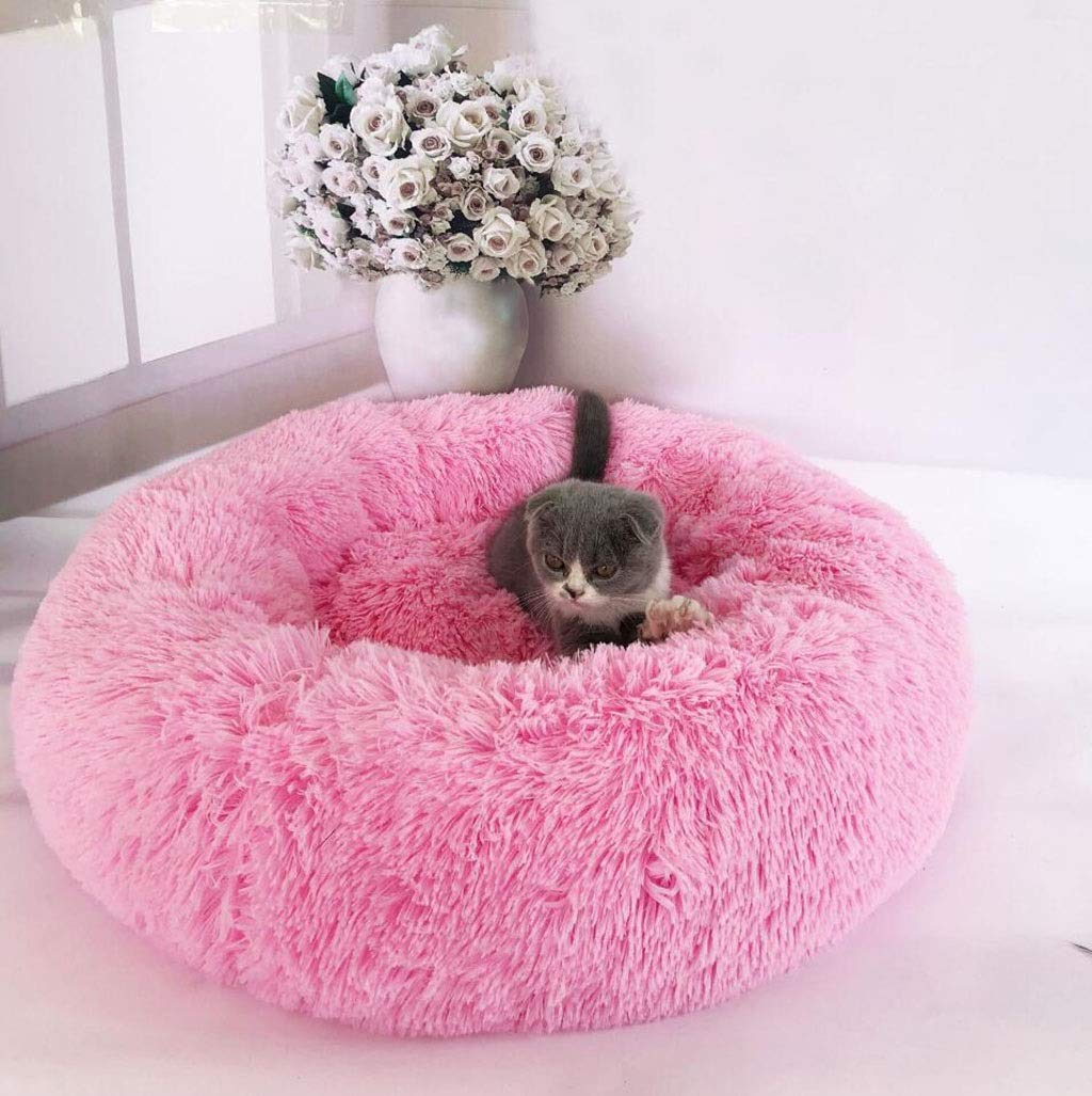 Pink LGKKXUE Round cat nest, Indoor pet sleeping bed, Kitten puppy sofa, doghouse (color   Pink, Size   L)