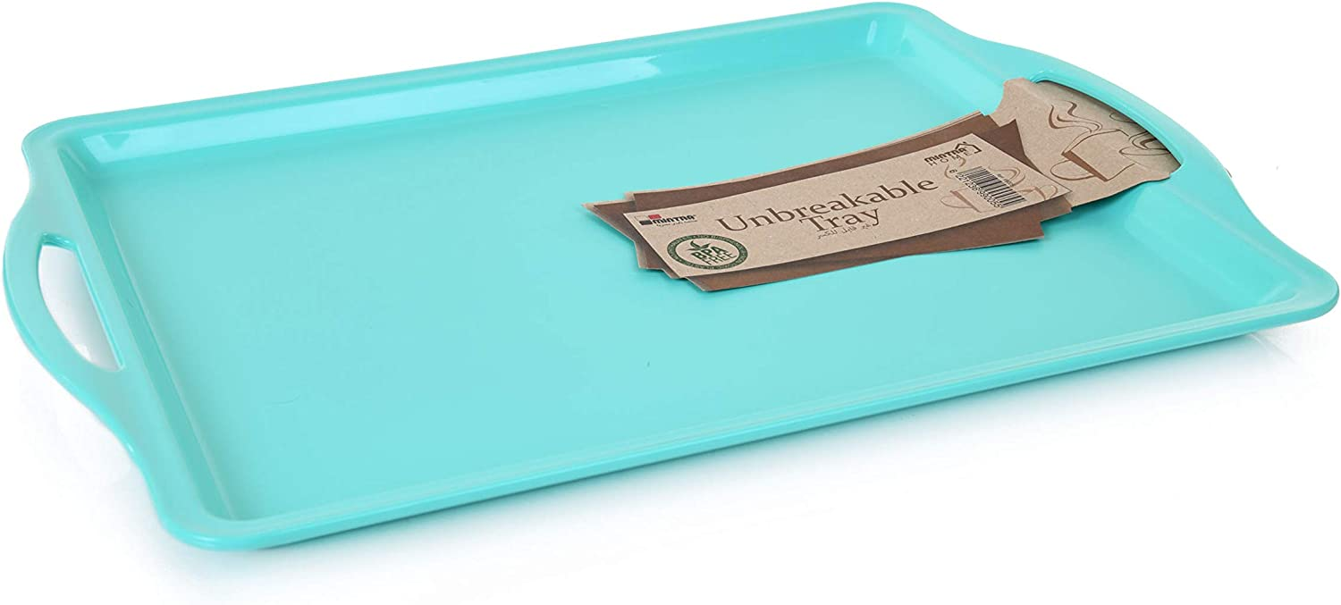 Mintra Home Durable Serving Tray (1pk, Teal) - Unbreakable, Breakfast, Cafeteria, Fast Food, Handles