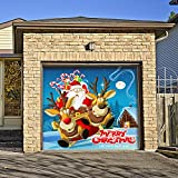 Outdoor Christmas Holiday Garage Door Banner Cover Mural Décoration - Santa's Take Off Holiday Garage Door Banner Décor Sign 7'x8'