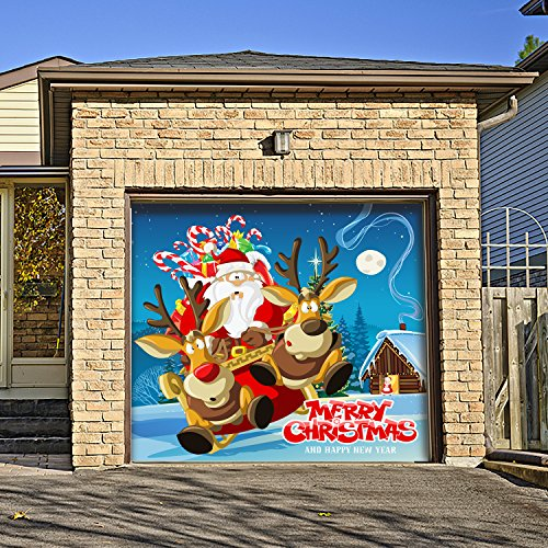 Outdoor Christmas Holiday Garage Door Banner Cover Mural Décoration - Santa's Take Off Holiday Garage Door Banner Décor Sign 7'x8' by Victory Corps