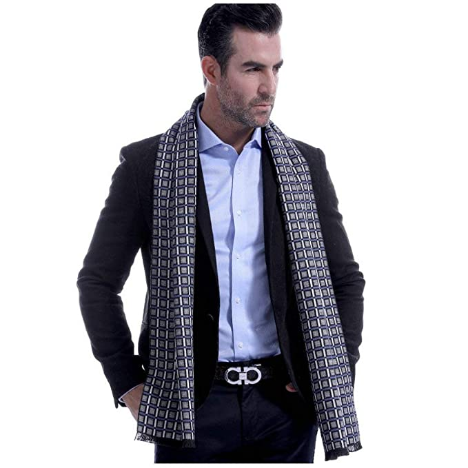 4b7e0f38b62 HCY 1Pcs British Style Men s Classic Plaid Scarf Cashmere Feel Business  Casual Scarves Winter Warm Neckwear