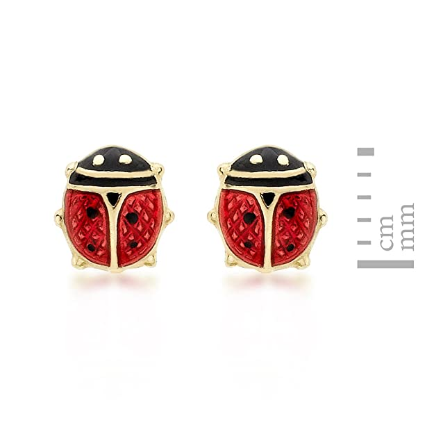 18k Gold Plated Enamel Red Spotty Beetle Ladybird Stud Earrings Beetles 10mm Girl Jewellery Gift UK YtbyW037S