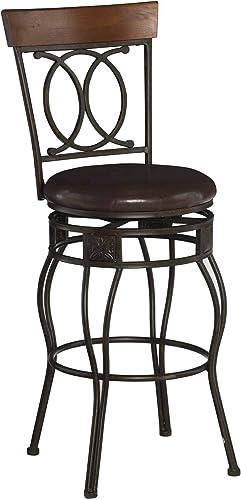 Matte Bronze Linon O X Back 30″ Seat Height Bar Stool