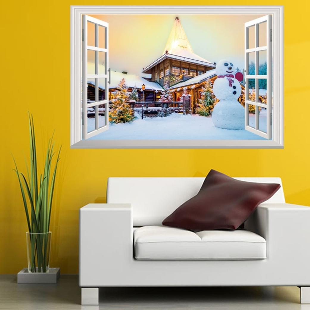 Amazon.com: Highpot 3D Windows Wall Sticker For Christmas Santa ...