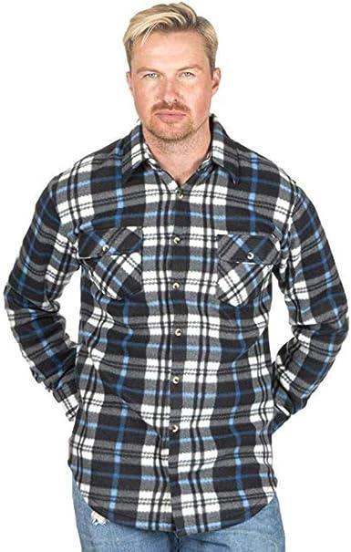 JACK NORTH Camisa de forro polar para hombre, diseño de leñador con patrón de cuadros, material de poliéster ligero, manga larga y dos bolsillos ...
