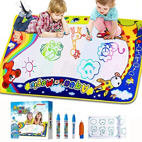 Jakoghii Water Doodle Mat, Kids Toys Aqua Drawing Mat Large Painting Writing Coloring Pad 4 Magic Pens for Boys Girls Age of 1,2,3,4,5,6,7-12 Yr, Educational Toy for Children Gift -Size (Drawing Mats)