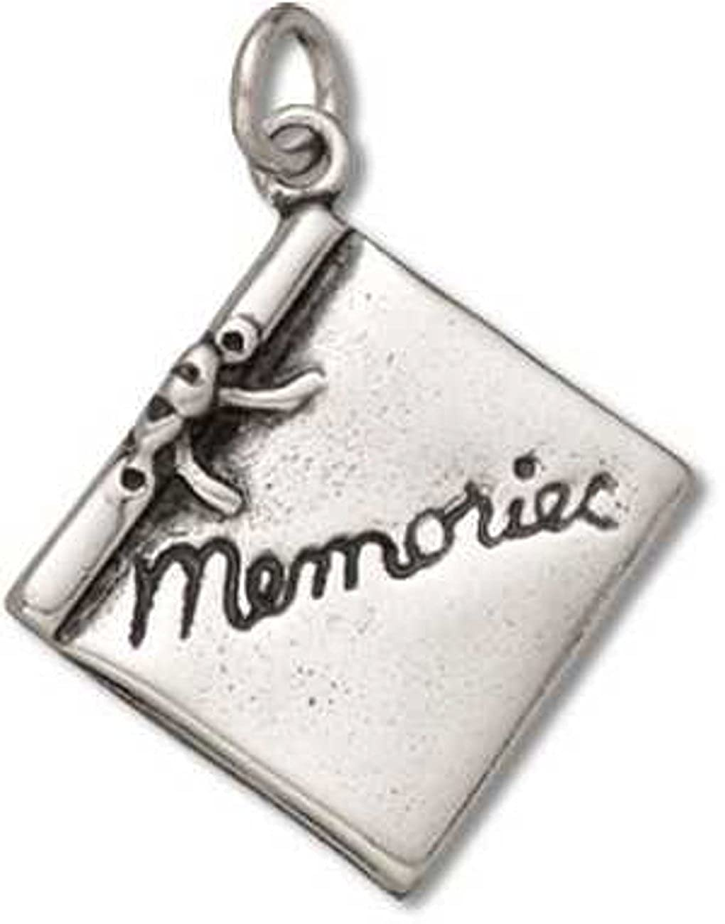 Sterling Silver Womens 1mm Box Chain 3D MEMORIES Scrapbook Photo Binder Pendant Necklace