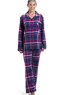 Pijama largo con cierre frontal abotonado - Franela - Estampado a cuadros - Morado y azul