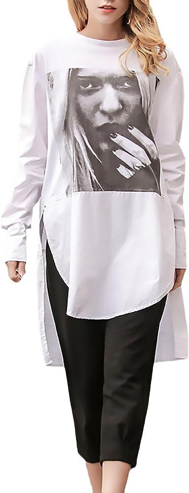 Camisetas Mujer Blancas Manga Larga Cuello Redondo Basicas Elegantes Estampado Hippie Irregular Fashion Casual Vintage Largas Camisas Blusa Blusones Camiseta T-Shirt Top: Amazon.es: Ropa y accesorios