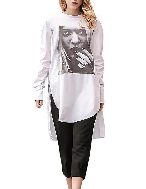 Camisetas Mujer Blancas Manga Larga Cuello Redondo Basicas Elegantes Estampado Hippie Irregular Fashion Casual Vintage Largas