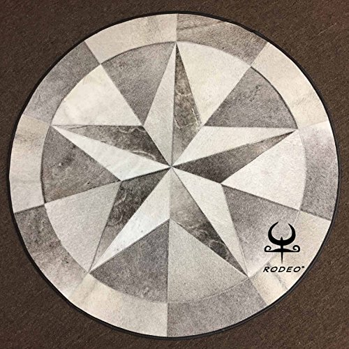 RODEO Texas Star Patch Work Cowhide Rug with Leather Edging Diameter 40 in