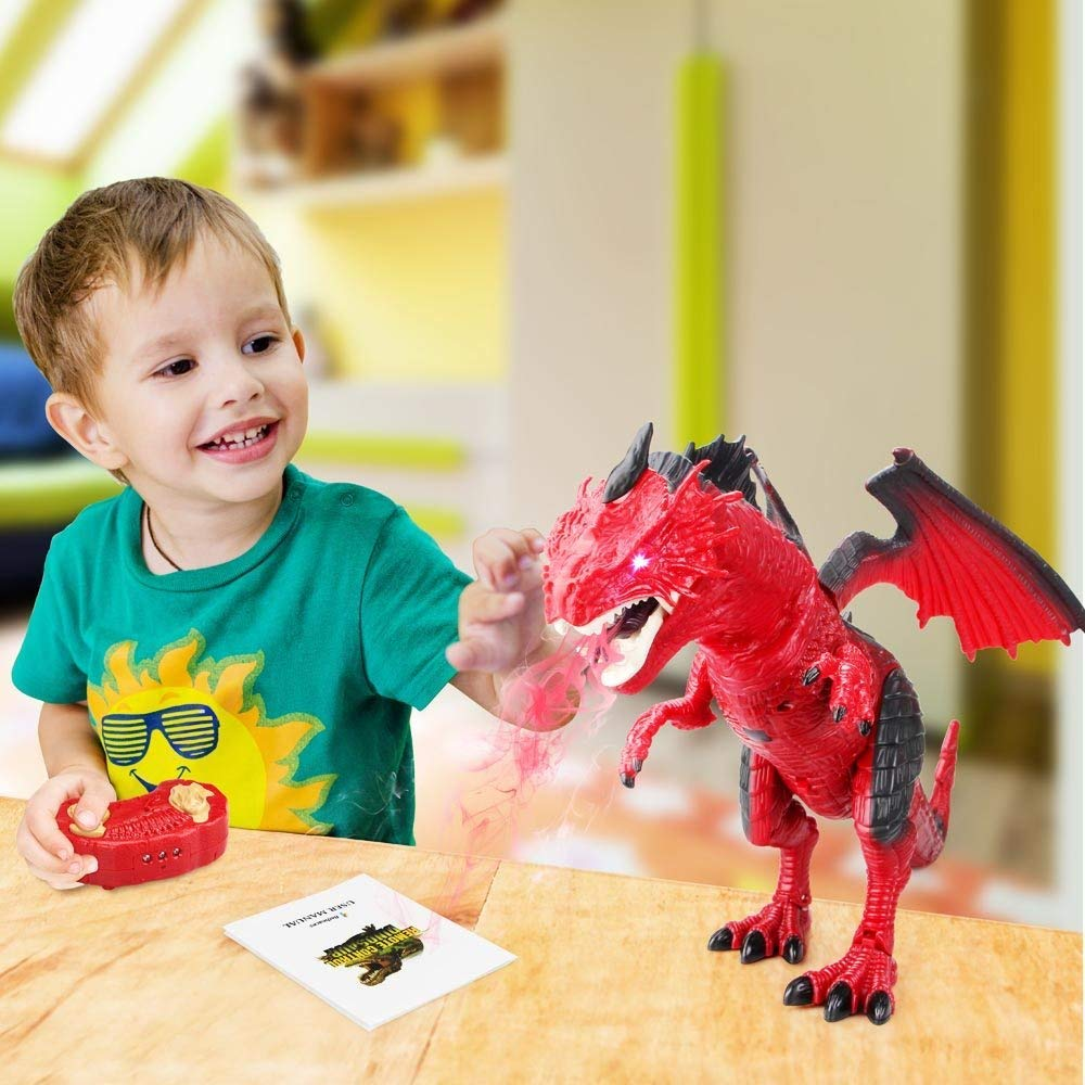 Remote Control Electronic Walking Dinosaur Toy Children RC Animal Toys w/ Simulation Roaring , Spraying Smoke , Shaking Head , Flapping Wings Functions ,Cool for Boys & Girls (Red) by O.B Toys&Gift (Image #6)