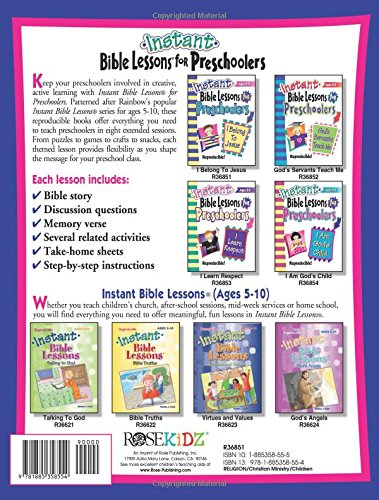 Workbook bible studies for kids worksheets : Instant Bible Lessons for Preschoolers -- I Belong to Jesus ...