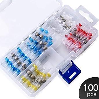 colore bianco 100 connettori termorestringenti per saldatura