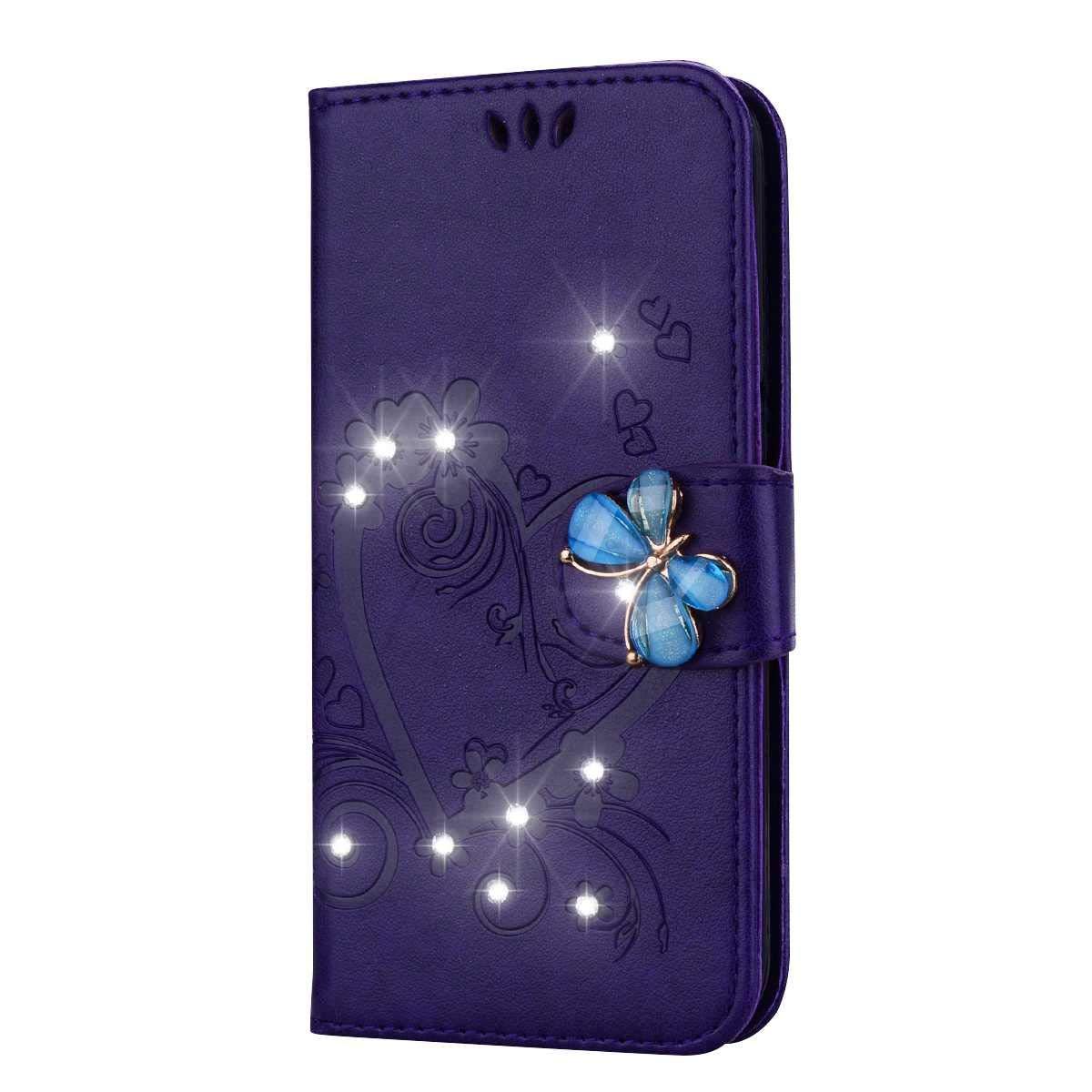 DENDICO Coque Huawei Y6 2018 Briller Portefeuille de Protection en Cuir Flip Etui pour Huawei Y6 2018 Housse de Anti Choc avec Stand Magnétique Fonction - Violet